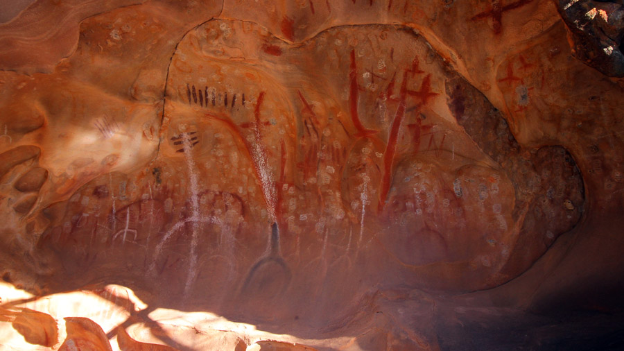 Arkaroo Rock. The paintings are so well preserved, they look like they could have been done yesterday.